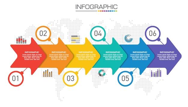 Infographic-grafiek met bedrijfsconcept, 6 opties kunnen worden gebruikt voor bedrijfsconcept met 6 stappen.