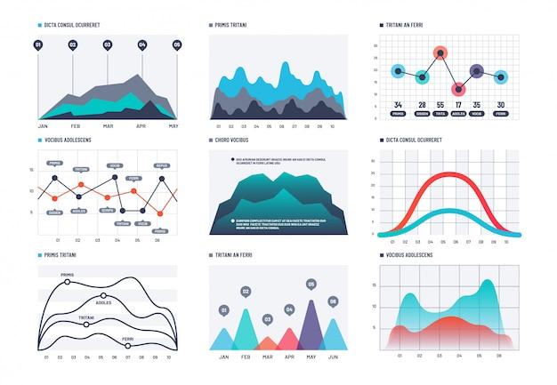 Infographic grafiek. statistieken staafdiagrammen, economische diagrammen en grafieken.