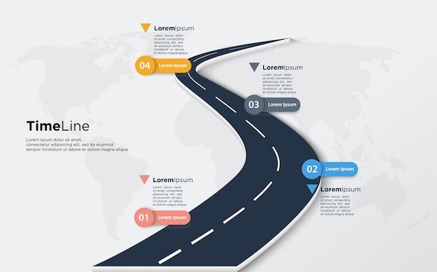 Infographic illustratie van tijdlijn van zachte zwarte weg.