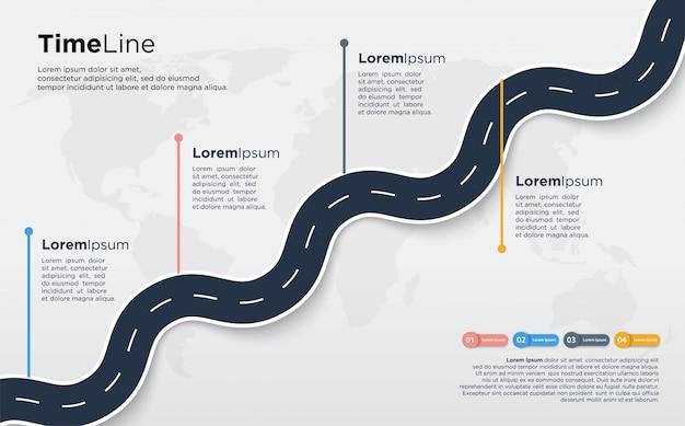 Infographic illustratie van weg bochten zacht zwart.