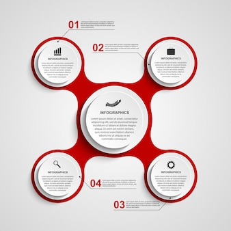 Infographic in de vorm van metabool. ontwerp elementen.