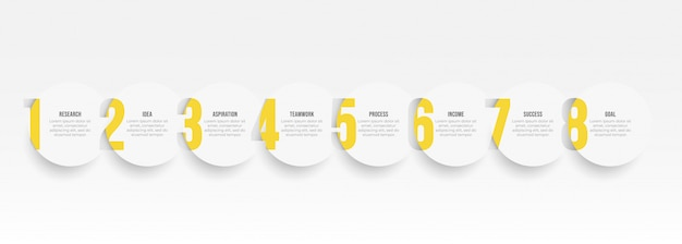 Infographic label ontwerpsjabloon met opties voor cirkel en nummer. bedrijfsconcept met 8 stappen of processen.