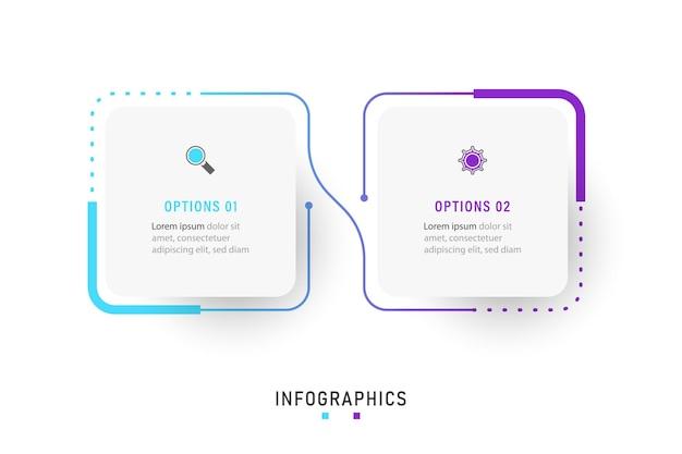 Infographic label ontwerpsjabloon met pictogrammen en 2 opties of stappen