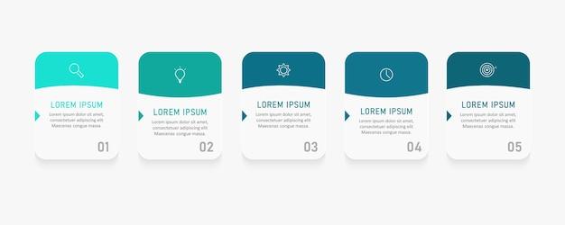 Infographic label ontwerpsjabloon met pictogrammen en 5 opties of stappen.