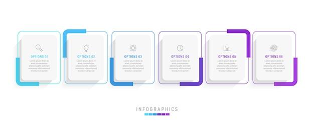 Infographic label ontwerpsjabloon met pictogrammen en 6 opties of stappen. Premium Vector