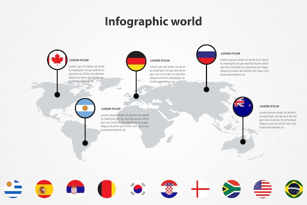 Infographic land wereldkaart, internationale wereld vlaggen