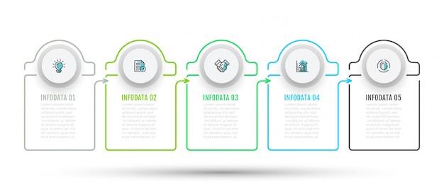 Infographic met 5 stappen, opties en marketingpictogrammen.