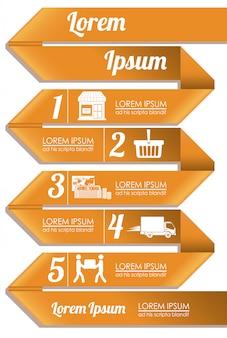 Infographic met 5 stappen sjabloon