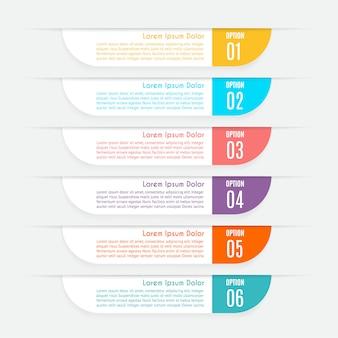 Infographic met 6 opties, stappen of processen