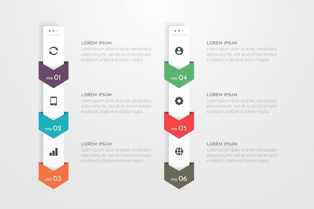 Infographic met 6 opties, stappen of processen.