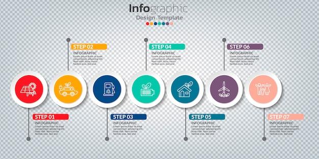 Infographic met 7 opties, stappen of processen.