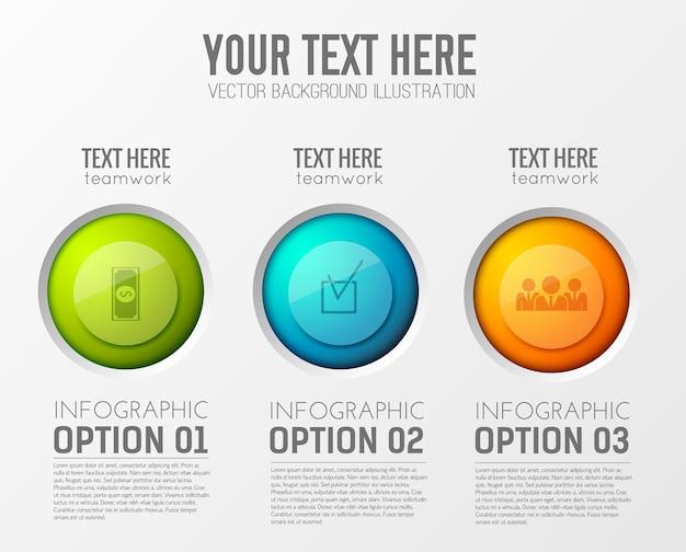 Infographic met drie opties alinea's met bewerkbare tekst en het juiste cirkelpictogram