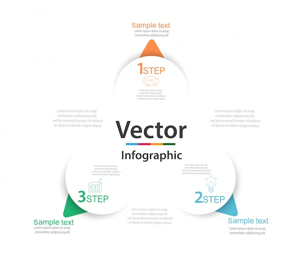 Infographic met drie ronde papieren witte elementen met pijlen of wijzers