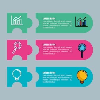 Infographic met drie stappen met zakelijke elementen