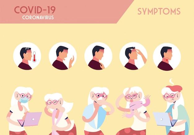 Infographic met incubatie en symptomen met pictogrammen en geïnfecteerde persoon