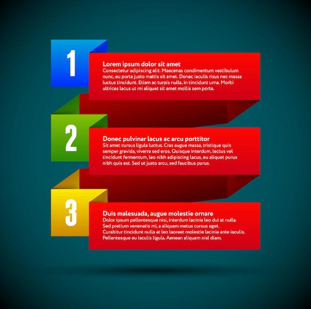 Infographic met linten en gekleurde nummers