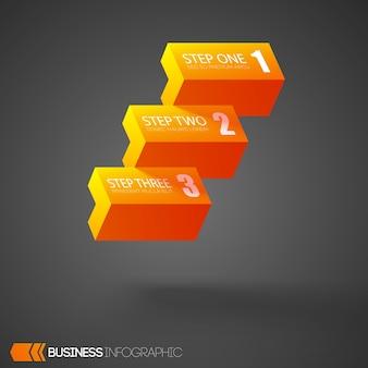 Infographic met oranje bakstenen met drie stappen op grijs
