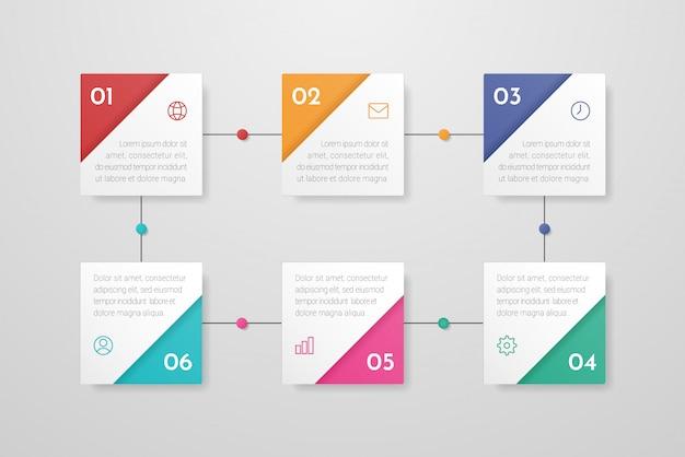 Infographic met pictogrammen en 6 stappen of opties.