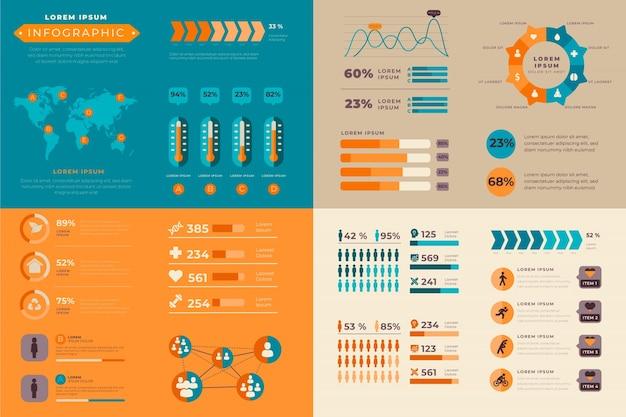 Infographic met retro kleuren in plat ontwerp