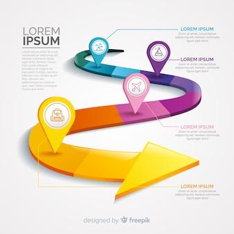 Infographic met stap en opties