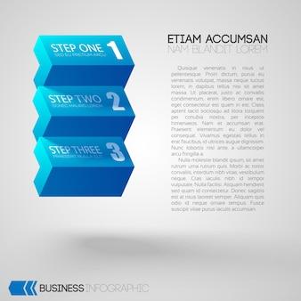 Infographic met tekst en blauwe bakstenen met drie stappen op grijs