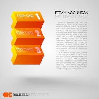Infographic met tekst en oranje bakstenen met drie stappen op grijs