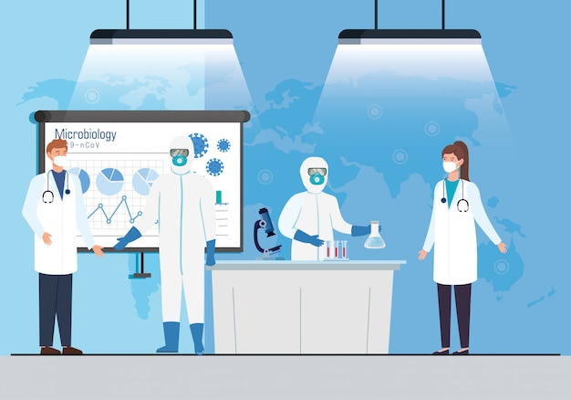 Infographic microbiologie voor covid 19 met medisch personeel