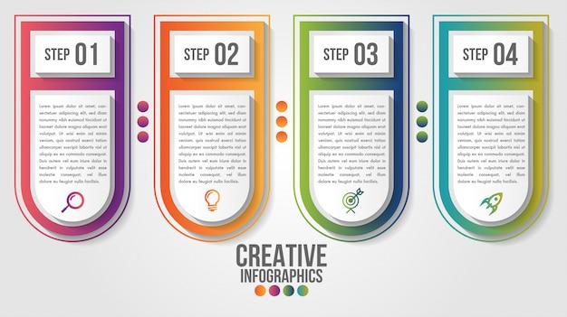 Infographic moderne tijdlijn vector ontwerpsjabloon voor zaken met 4 stappen of opties