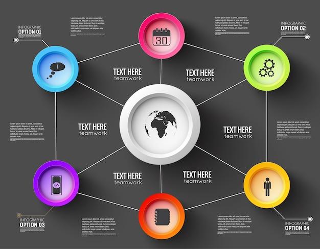 Infographic netwerksjabloon voor presentatie met lijnen en functionele knoppen
