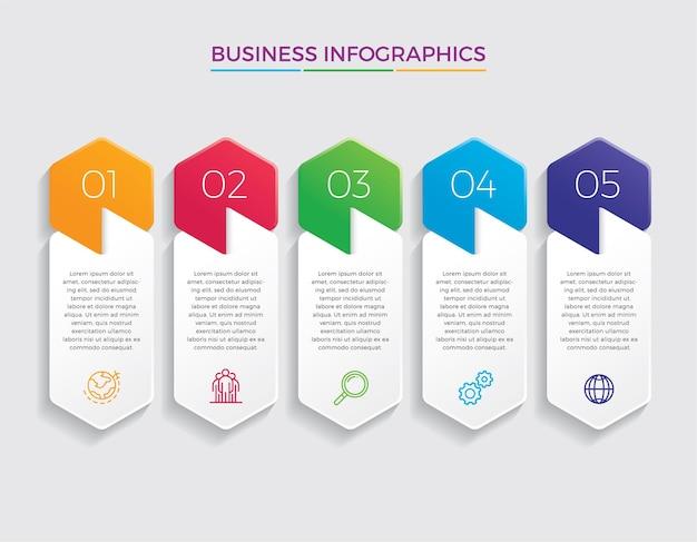 Infographic ontwerp en marketing. bedrijfsconcept met 5 opties, stappen of processen.