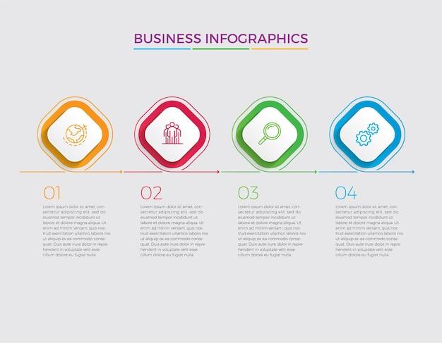 Infographic ontwerp en marketing pictogrammen. bedrijfsconcept met 4 opties, stappen of processen.