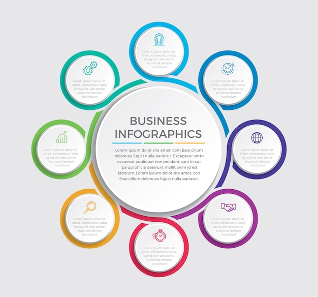 Infographic ontwerp en marketing pictogrammen. bedrijfsconcept met 8 opties, stappen of processen.