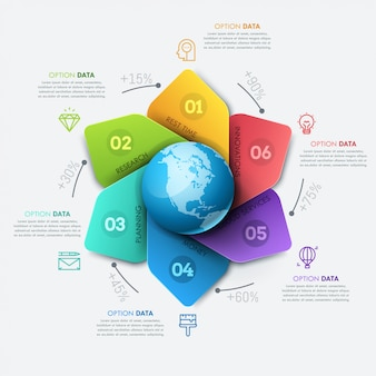 Infographic ontwerp lay-out. bloemblaadjesdiagram met globe in centrum, percentage-indicatie, tekstvakken en pictogrammen