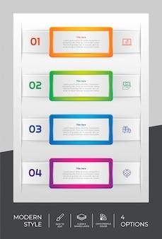 Infographic ontwerp met 4 stappen en moderne stijl.