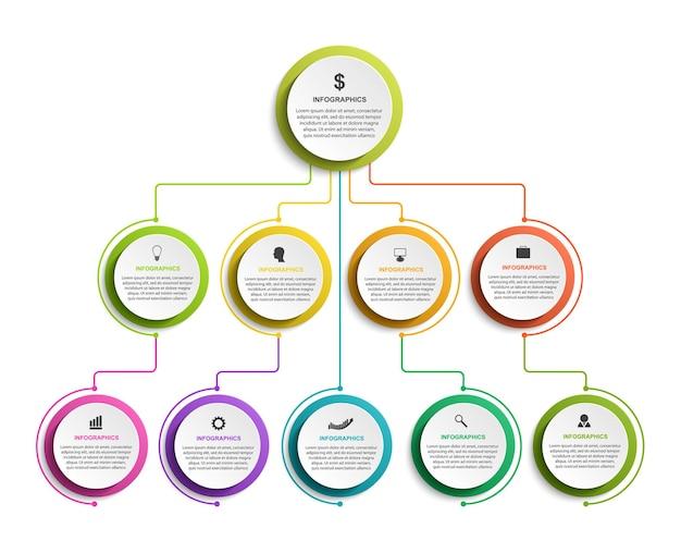Infographic ontwerp organigramsjabloon voor zakelijke presentaties