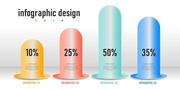 Infographic ontwerp presentatie zakelijke infographic sjabloon met 4 opties