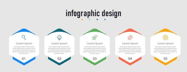 Infographic ontwerp presentatie zakelijke infographic sjabloon met 5 opties