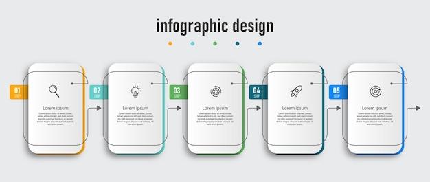 Infographic ontwerp presentatiesjabloon met vijf opties