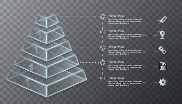 Infographic ontwerp transparant glas 3d-piramide en pictogrammen