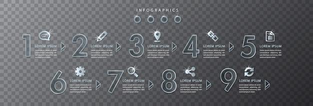 Infographic ontwerp transparant glas nummer en pictogrammen
