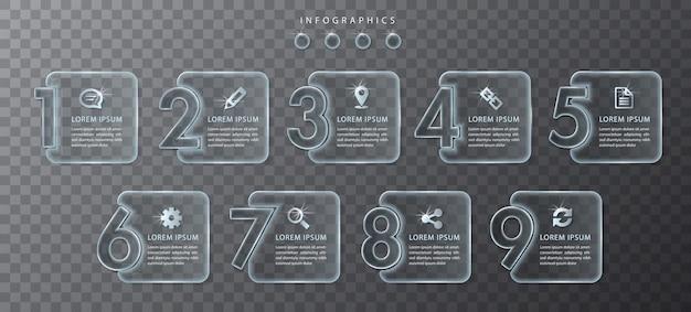 Infographic ontwerp transparant glas nummerlabels en pictogrammen