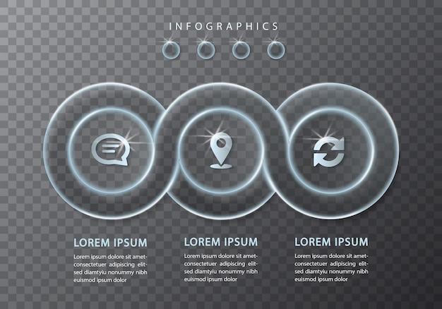 Infographic ontwerp transparant glas ronde ketting frame labels en pictogrammen