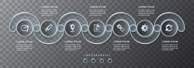 Infographic ontwerp transparant glas ronde kruis frame labels en pictogrammen