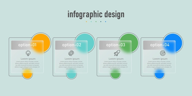Infographic ontwerp transparant glas sjabloon