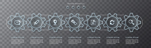 Infographic ontwerp transparant glas tandwiel en pictogrammen