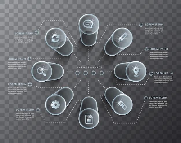 Infographic ontwerp transparante glazen cilinder en pictogrammen