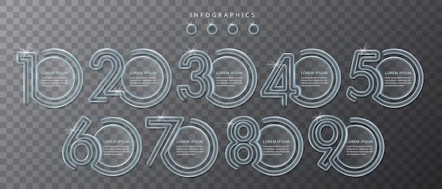 Infographic ontwerp transparante glazen labels en pictogrammen