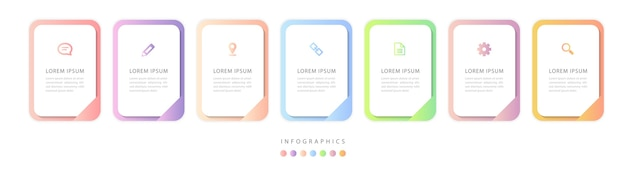 Infographic ontwerp ui sjabloon kleurrijke verloop labels en pictogrammen.
