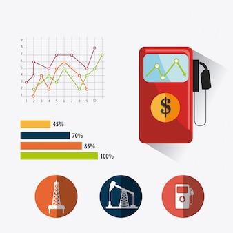 Infographic ontwerp van de olie- en aardolie-industrie