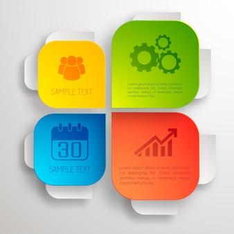 Infographic ontwerpconcept met kleurrijke zakelijke elementen en pictogrammen